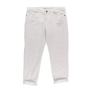 Michael Kors Womens Boyfriend Destroyed Cropped Jeans - 4