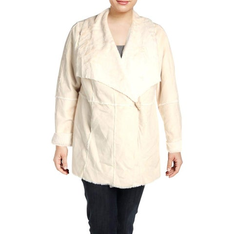 INC Washed White Womens Size 2X Plus Faux Suede Double Face Coat