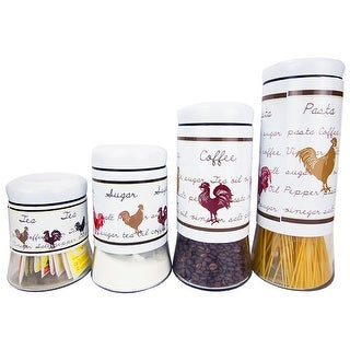 Home Basics 4-Piece Rooster Stainless Steel and Glass Canister Set, White