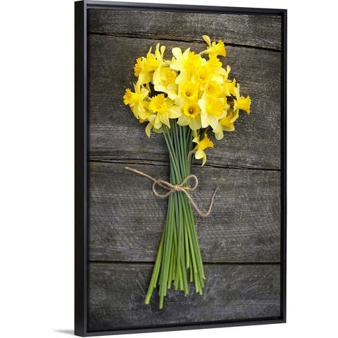 """""""Bunch of daffodils on a wooden table"""" Black Float Frame Canvas Art"""