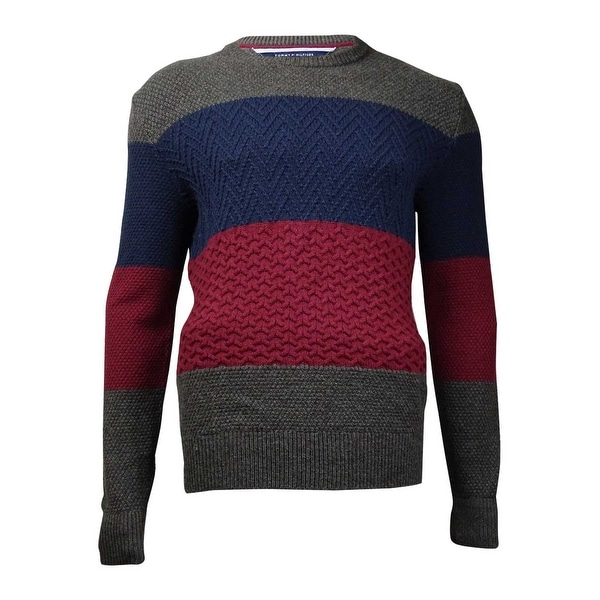 Tommy Hilfiger Men's Ziggy Colorblocked Cable-Knit Sweater (XL, Zinfandel) - Zinfandel - XL