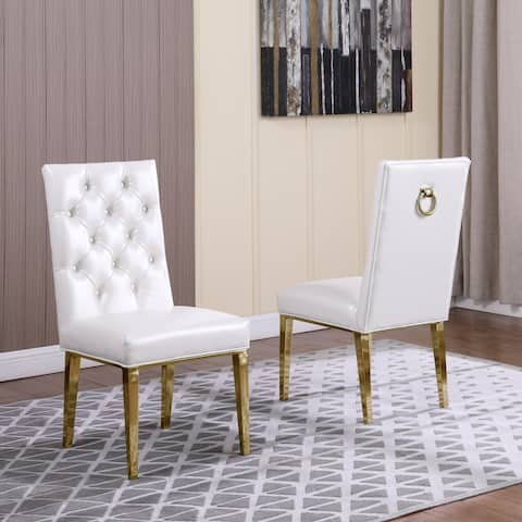 Best Quality Furniture Button Tufted Back Side Chairs with Gold Stainless Steel Legs