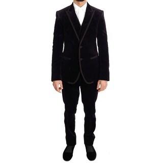 Dolce & Gabbana Dolce & Gabbana Purple Velvet Slim Fit Two Button Suit - it48-m