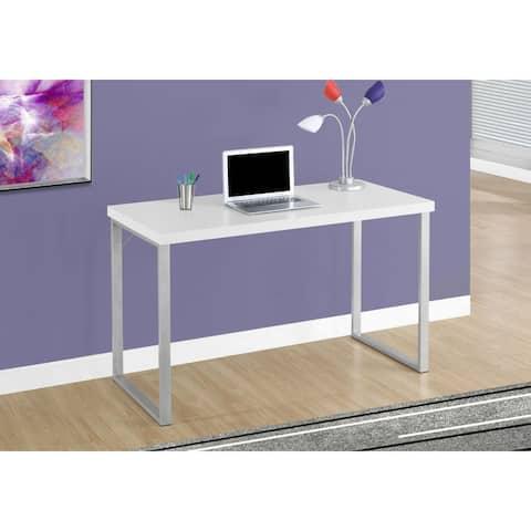 """Offex Contemporary Computer Desk - 48""""L White, Silver Metal"""