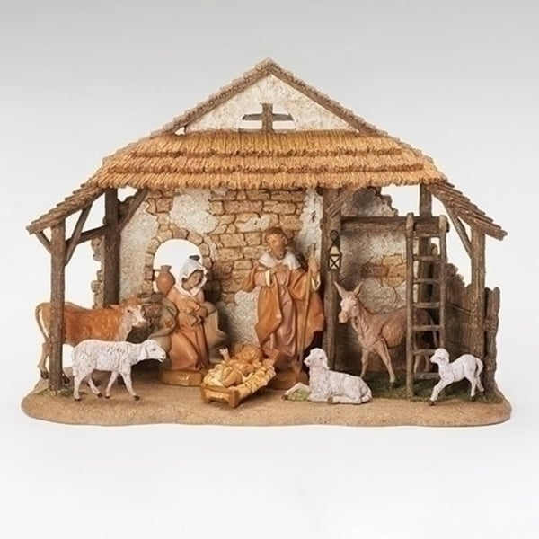 "8-Piece Christmas Nativity Set with Stable for Fontanini 5"" Collection #54462"