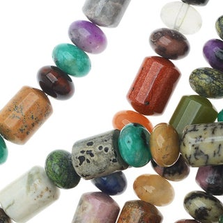 Gemstone Rondelle And Tube Bead Mix 8mm/15.5 Inch Strand (56 Beads)