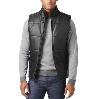 Calvin Klein Full Zip Mock Neck Faux Leather Quilted Vest Black Medium M