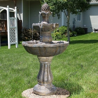 Sunnydaze 2 Tier Pineapple Water Fountain Solar on Demand Fountain 33 Inch Tall