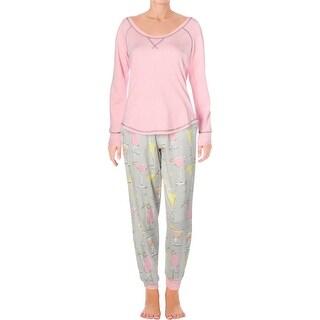 Munki Munki Womens Fancy Drinks Pajama Set Flannel Jogger