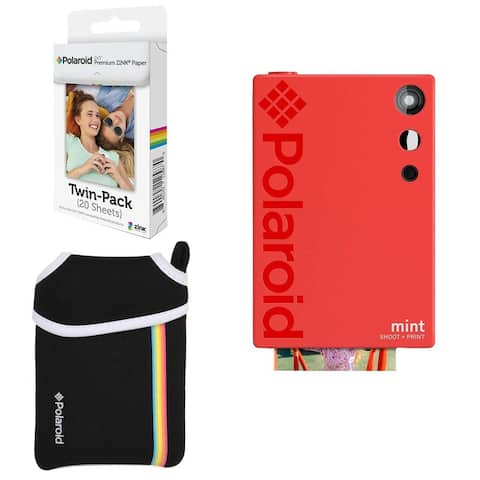 Polaroid Mint Instant Digital Camera (Red) Basic Bundle + Paper (20 Sheets) + Deluxe Pouch