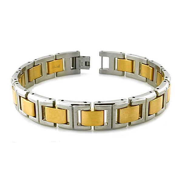 Two-tone Gold Plated and Satin Finish Men's Stainless Steel Link Bracelet - 8.5 Inches
