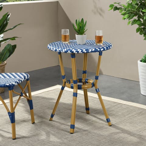 Picardy Outdoor Aluminum and Wicker Outdoor French Bistro Table by Christopher Knight Home