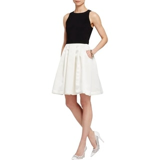 Aqua Womens Juniors Party Dress Pleated Two Tone