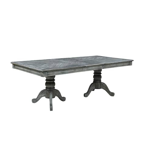 Carrington Weathered Ash Double Pedestal Rectangle Dining Table