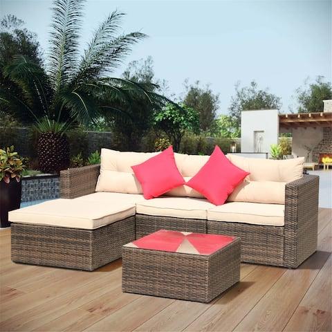5-Pieces Rattan Patio Furniture Set Wicker Sofa