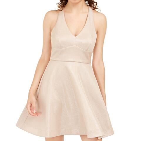 Teeze me Dress Beige Size 0 Junior A-Line Strappy Shimmer V-Neck