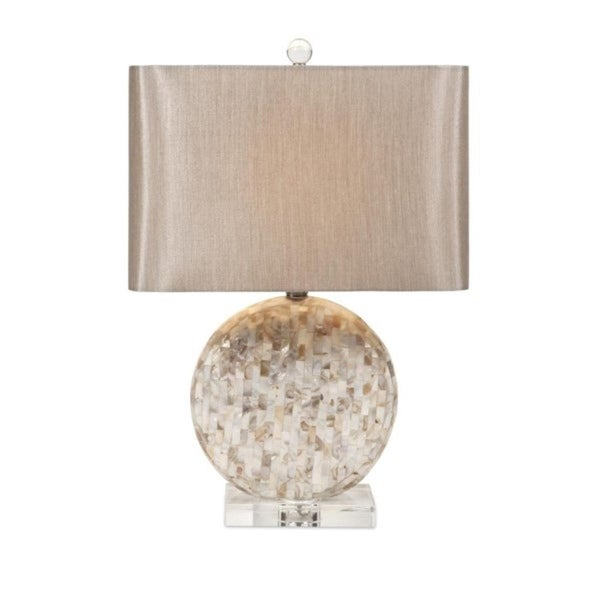 Shop 22 5 Ivory And Tan Mother Of Pearl Circular Table