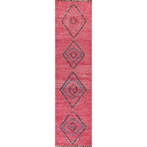 "Geometric Tribal Oriental Moroccan Staircase Runner Rug Wool Handmade - 2'11"" x 12'8"""