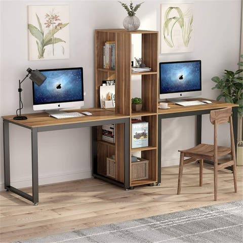 91 Inch Two Person Computer Desk with Shelves, Extra Large Double Workstations - Dark walnut