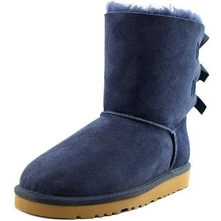 Ugg Australia Bailey Bow Youth Round Toe Suede Blue Winter Boot