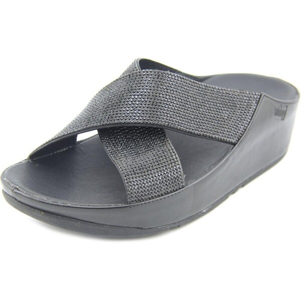508380b51ea0d Shop FitFlop Crystall Women Open Toe Canvas Black Slides Sandal ...