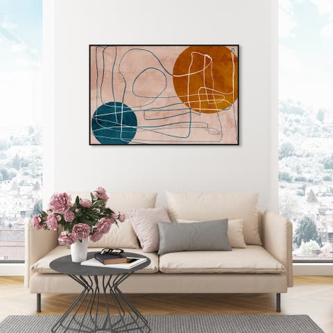 Oliver Gal 'Shapes in the Desert' Abstract Wall Art Framed Canvas Print Shapes - Brown, Blue