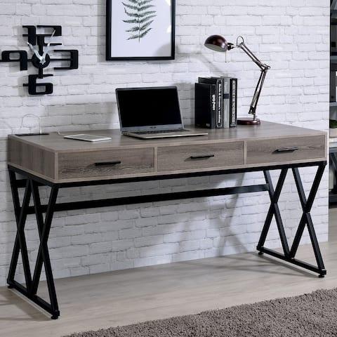 Furniture of America Nillo Industrial Grey 3-drawer Writing Desk