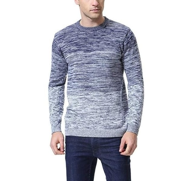 b5f10e17a05c Men's Pullover Knitted Sweater Crewneck Long Sleeve Gradient Color ...