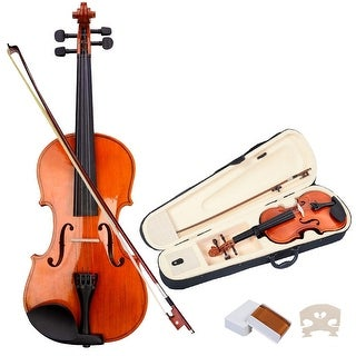 Costway Full Size 4/4 Natural Acoustic Violin Fiddle with Case Bow - Wood