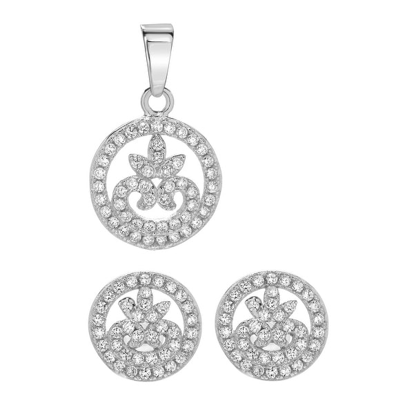 Mcs Jewelry Inc  STERLING SILVER 925 CUBIC ZIRCONIA CIRCLE EARRING AND PENDENT SET WITH DESIGN