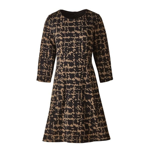 Women\'s Swing Dress - Abstract Houndstooth Print Black & Brown - Plus Size