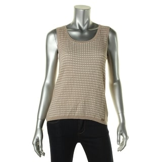 Calvin Klein Womens Stretch Ribbed Trim Knit Top