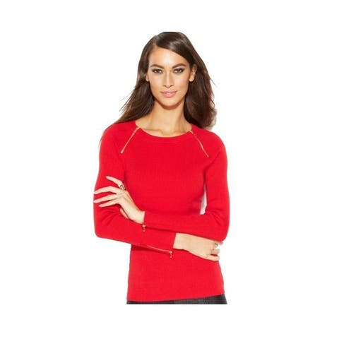 INC International Concepts $49.50 Zippered Boat-neck Ribbed Sweater Red (M) - Medium