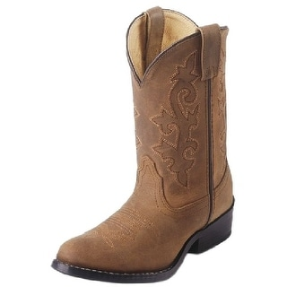 Justin Western Boots Boys Stitched Shaft Round Toe Bay Brown 2253Y
