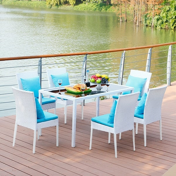 Wicker Dining Chairs (Set of 4 ),Outdoor Lounge Side Chair Set with Rattan Trim