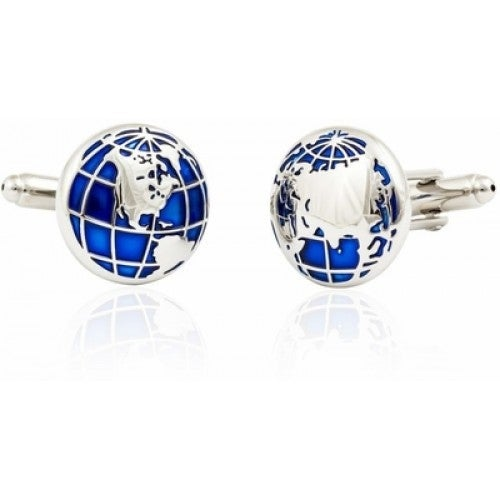 Blue Earth Globe Cufflinks Travel
