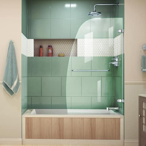 "DreamLine Aqua Uno 34 in. W x 58 in. H Frameless Hinged Tub Door - 34.31"" W - 34.31"" W"