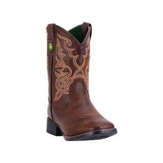 John Deere Western Boot Boys Kids Broad Toe Steel Shank Brown