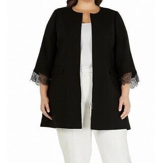 Link to Alfani Womens Topper Jacket Black Small S Collarless Full-Zip Lace-Cuff Similar Items in Women's Outerwear