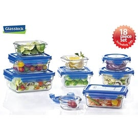 Glasslock Blue Lid 18-Piece Assorted Oven Safe Container Set