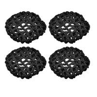 Unique Bargains 4 Pcs Nylon Knot Stretchy Ballet Bun Hair Covers Hairnet Black for Woman