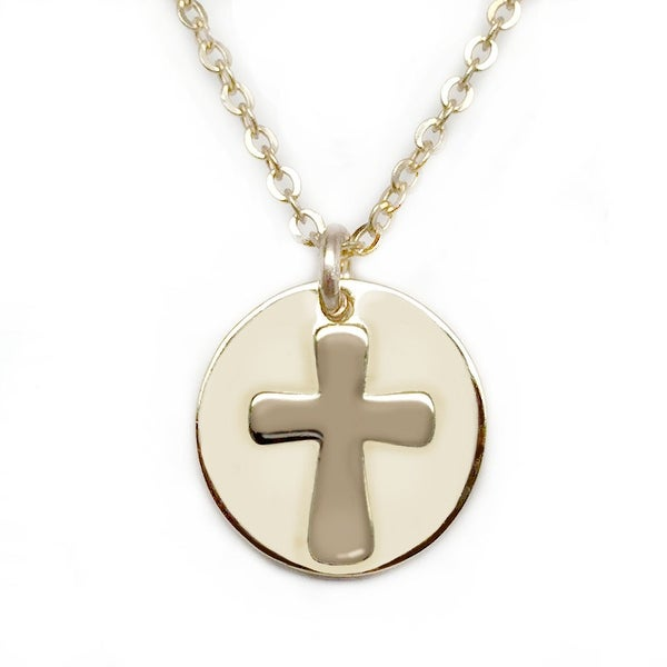 "Julieta Jewelry Cross Disc Gold Charm 16"" Necklace"