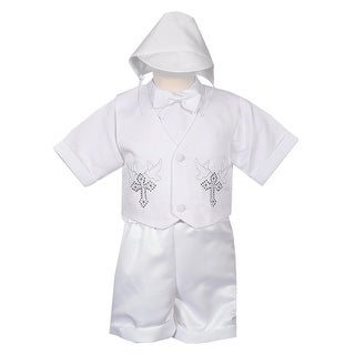 Rafael Collection Baby Boys 4 pc Rhinestone Cross Vest Hat Baptism Outfit 6M