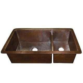 """Native Trails CPK77 Cocina Duet 40"""" Double Basin 16 Gauge Hammered Copper Kitchen Sink for Undermount or Installations with"""