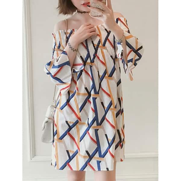 Shop QZUnique Women\'s Plus Size Stripe Off Shoulder Midi ...