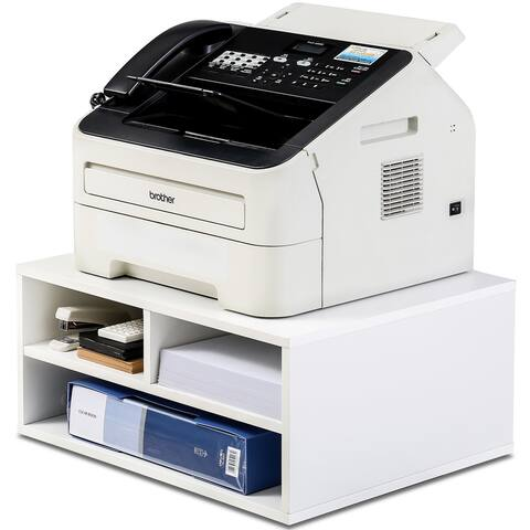 FITUEYES Printer Stands with Storage, Wood Desk Organizer