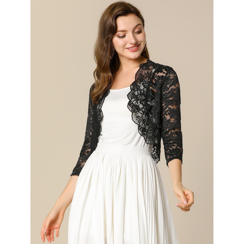 Allegra K Womens Elegant 3//4 Sleeve Sheer Open Front Floral Lace Bolero Shrug