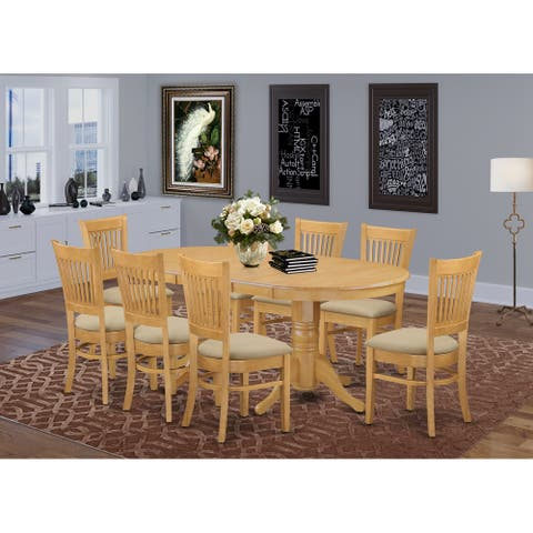 Dining Set Includes Dining Table and 8 Chairs in Oak Finish