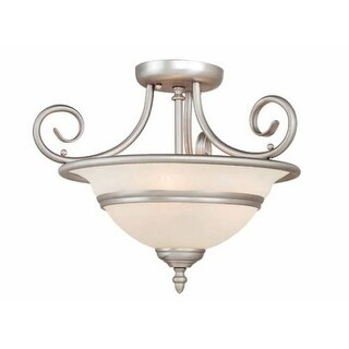Vaxcel Lighting CC11816 Da Vinci 3 Light Semi-Flush Indoor Ceiling Fixture with Frosted Glass Shade - 16 Inches Wide
