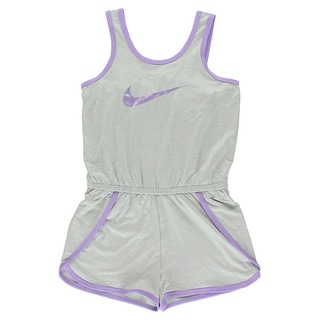 0c88cfba9b79 Shop Nike Girls Sport Essentials Romper Heather Grey - heather grey light  purple - 6X - Free Shipping On Orders Over  45 - Overstock.com - 22693928